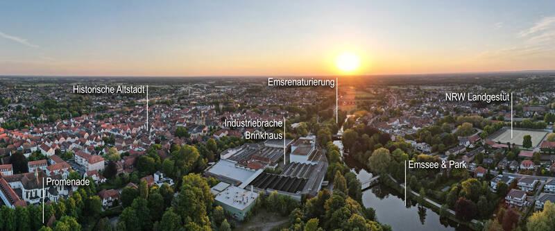 Luftbild-Panorama Stadt Warendorf