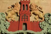 Wappen der Stadt Warendorf von 1870 am Historischen Rathaus