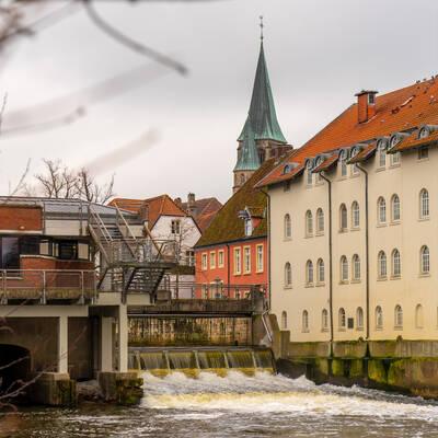 Defekt am Emswehr führt zu hohem Wasserstand im Mühlenkolk. (hier Archivbild, © Stadt Warendorf)